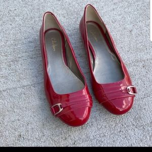 COLE HAAN Red Patent Buckle Flats Nike Air Sole 8